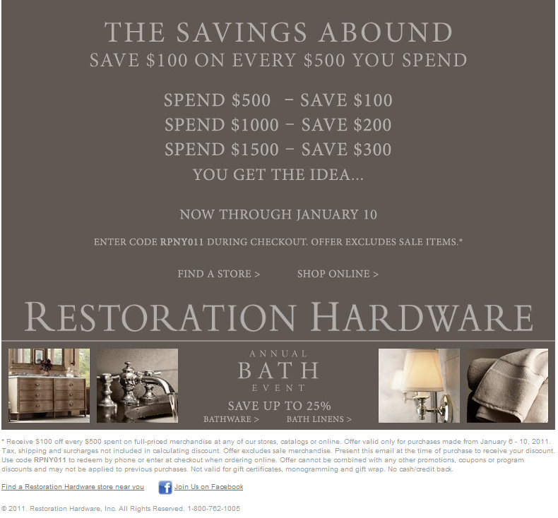 Restoration Hardware is a purveyor of luxury home décor. It doesn't limit itself to elaborate sink fixtures and plush floor rugs. It offers much more, from luxury dining solutions to intricate doorbell panels. Give your home or business a luxury makeover with materials from Restoration Hardware; make it a much more pleasant place to be.
