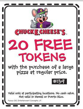 Chuck E Cheese Promo Coupon Codes and Printable Coupons