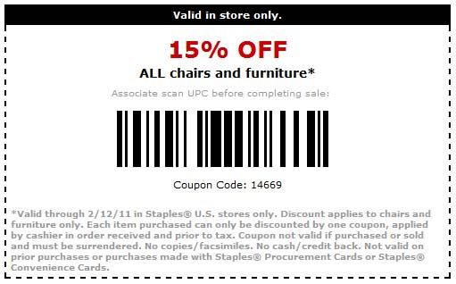 Staples: 15% off Furniture Printable Coupon