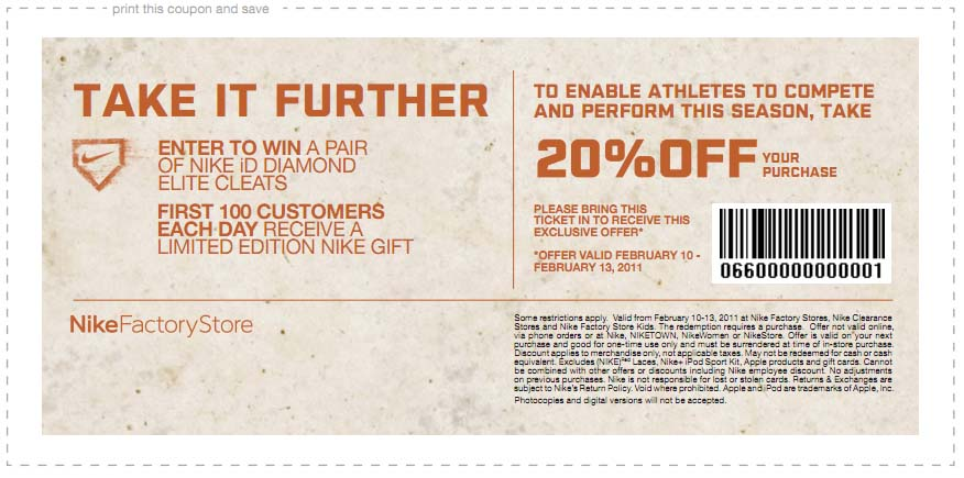 Nike outlet discount coupons