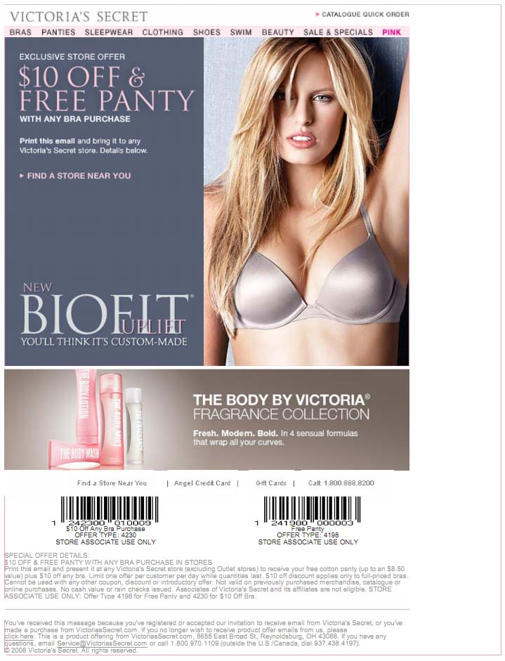 picture relating to Victoria Secret 10 Off Bra Printable Coupon named Coupon victoria mystery 10 off : Wonder omnibus promotions