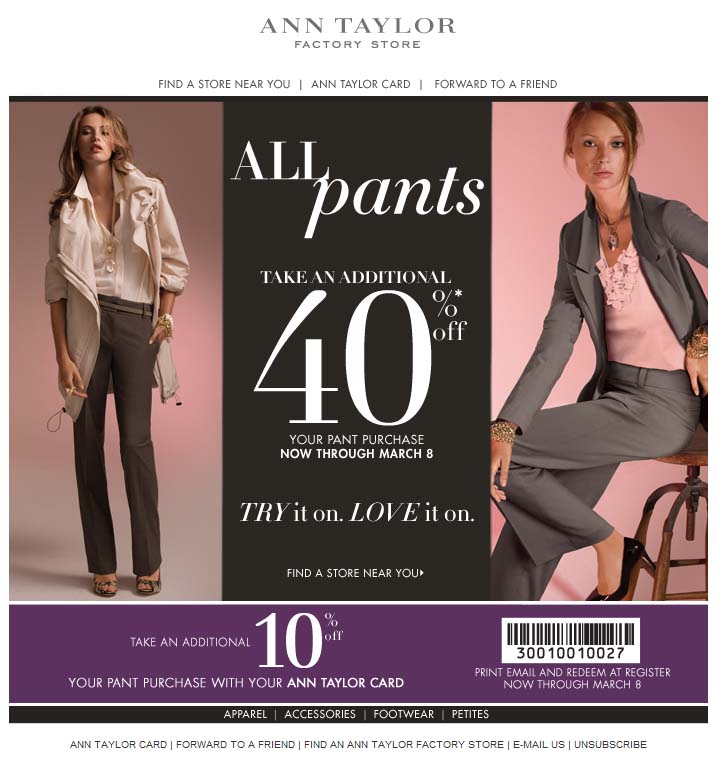 Ann taylor coupon factory store
