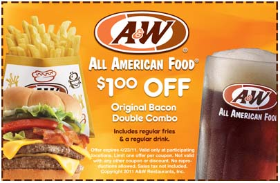 A&W: $1 off Bacon Double Combo Printable Coupon