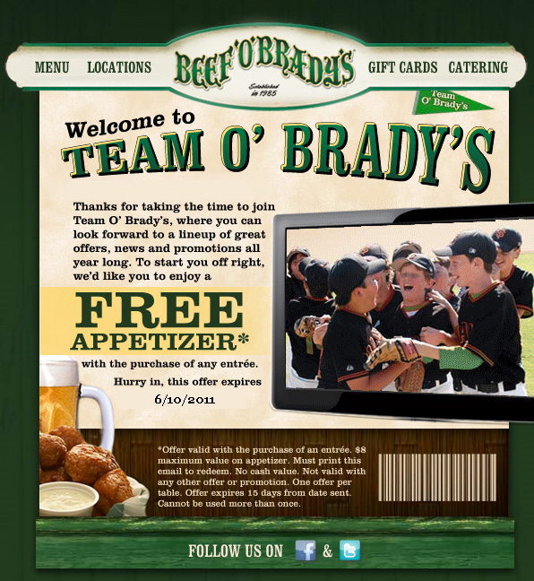 Beef'O'Bradys Promo Coupon Codes and Printable Coupons