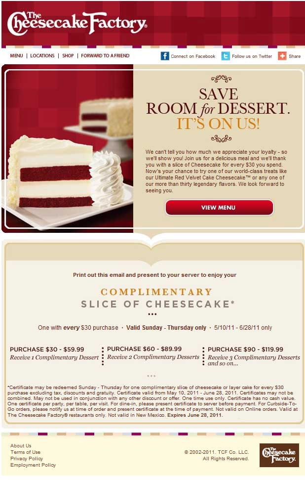 online coupon code for cheesecake factory