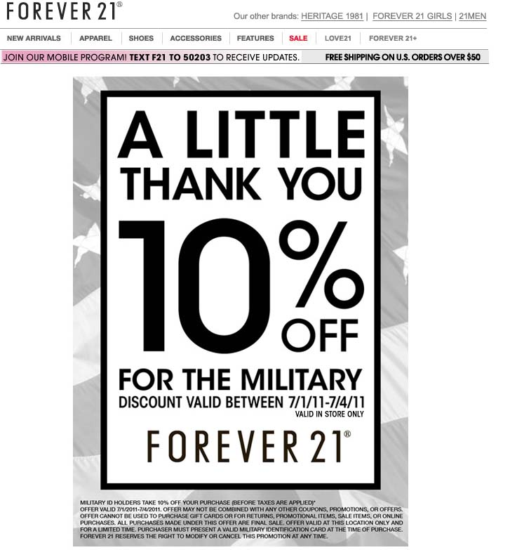 Discount coupons forever 21