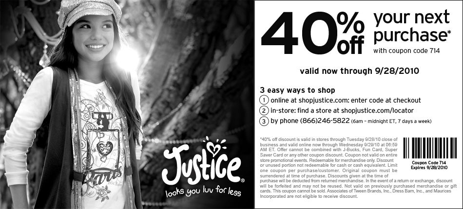 Justice coupons codes