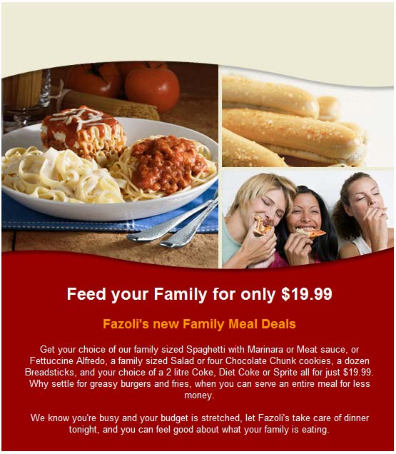 Fazolis Promo Coupon Codes and Printable Coupons