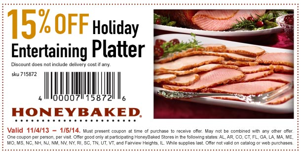 honeybaked ham 15 off entertaining platter printable coupon