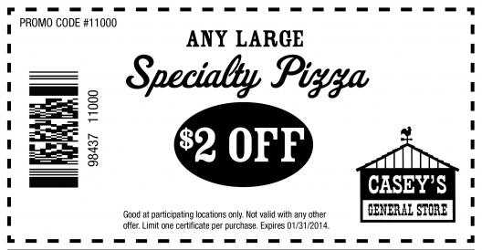 graphic about Casey's Coupons Printable identified as Caseys Total Retail outlet: $2 off Pizza Printable Coupon