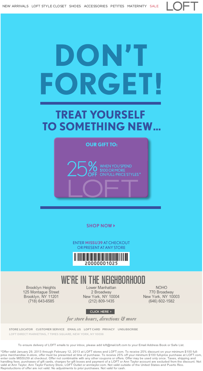 loft printable coupons loft 25 100 printable 23460
