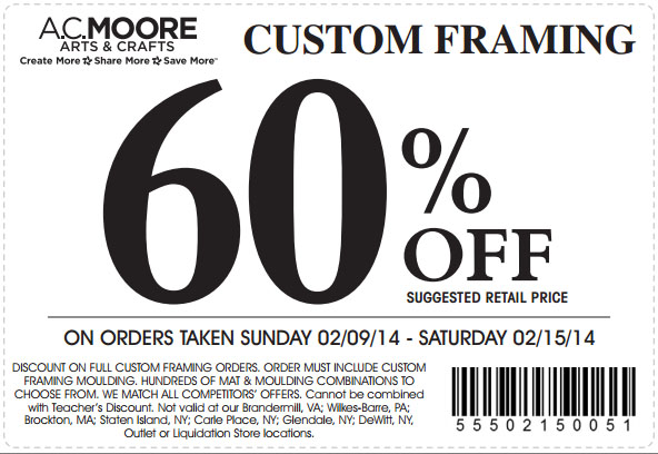 AC Moore: 60% off Custom Framing Printable Coupon