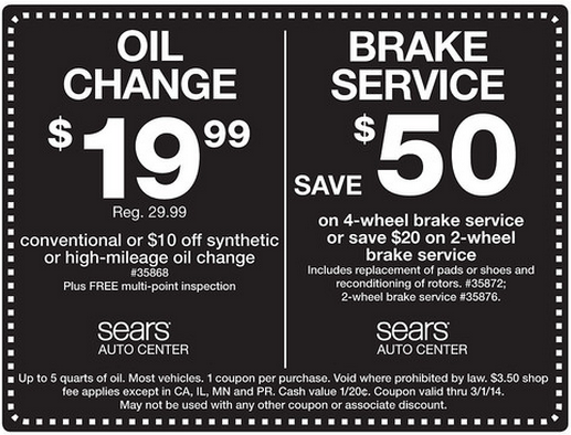 Sears Auto Center Oil Change Brake Service Printable Coupon