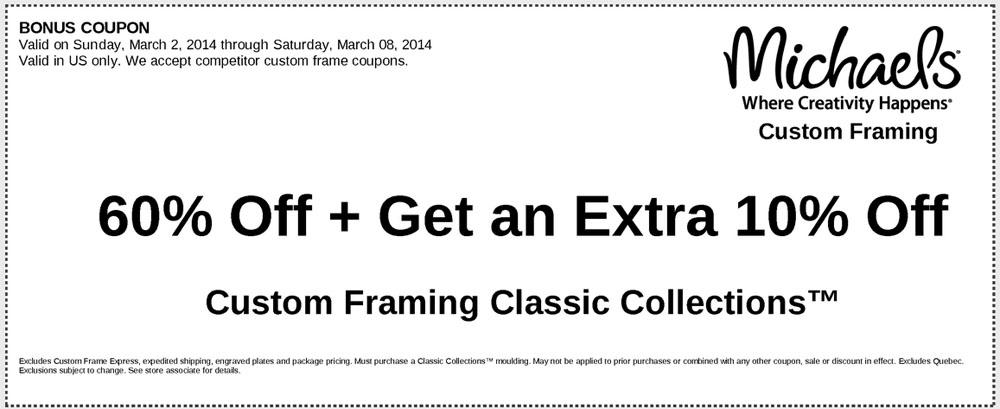 Michaels: 60% off Custom Framing Order Printable Coupon