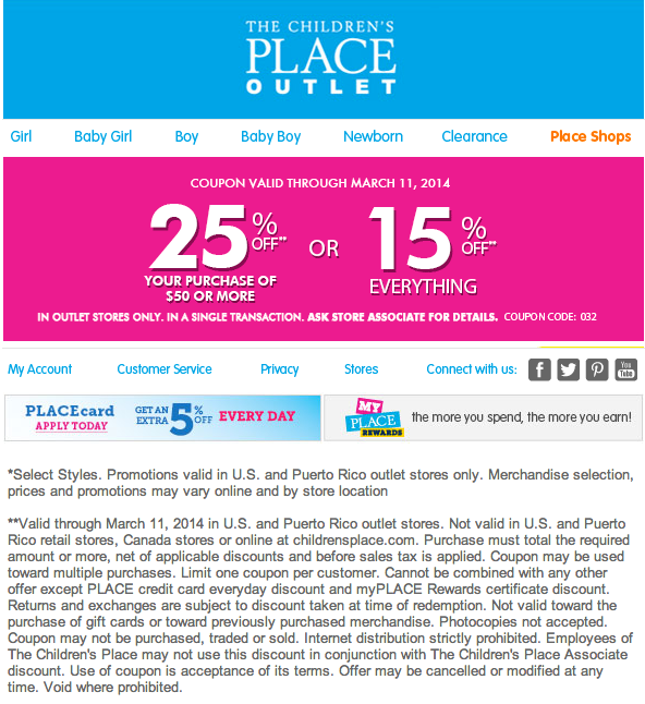 graphic about Childrens Place Printable Coupon named The Childrens Location Outlet: 15%-25% off Printable Coupon