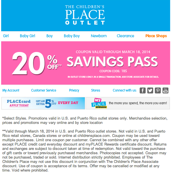 the children 39 s place outlet 20 off printable coupon