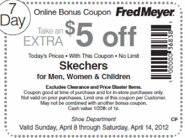 skechers printable coupons fred meyer 5 skechers printable 24891 | 04 14 2012 fred meyer 5 off skechers printable coupon