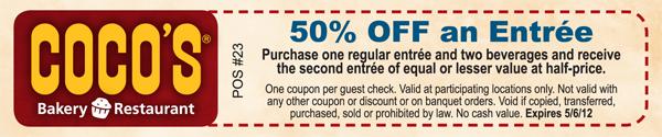 coco s bakery bogo 50 off entree printable coupon