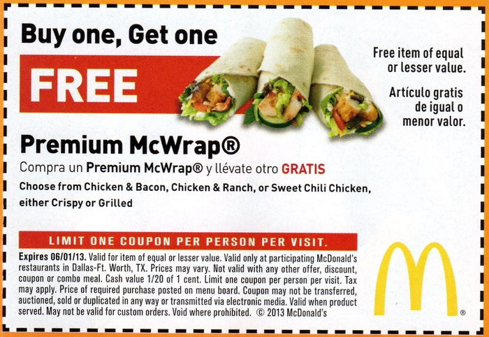 mcdonalds bogo free mcwrap printable coupon