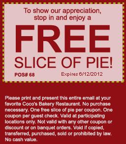 coco s bakery free slice of pie printable coupon