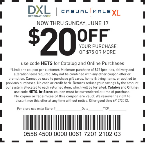 Casual Male Xl Coupon