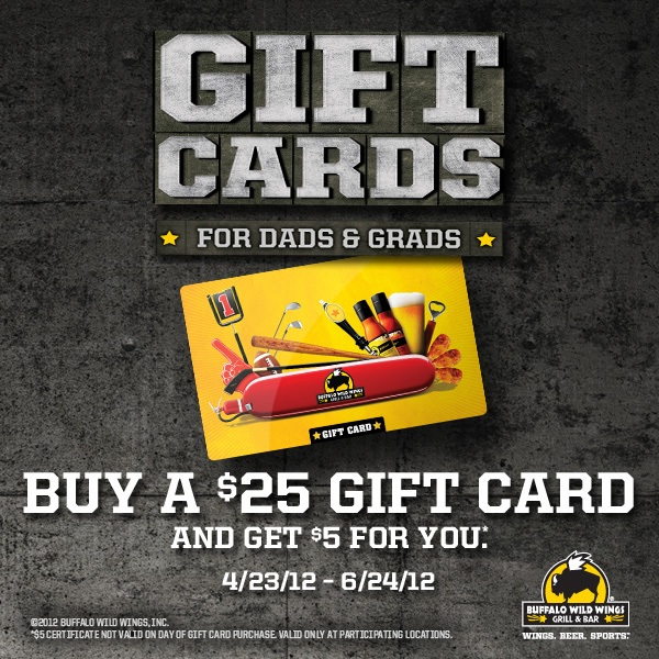 buffalo wild wings gift card promotion buffalo wild wings free 5 gift card printable coupon 3518