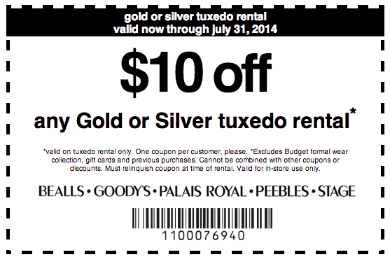 image about Bealls Printable Coupons named Bealls Office Retail store: $10 off Tuxedo Condominium Printable Coupon