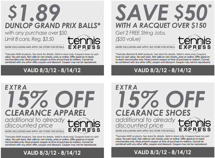 Tennis Express 4 Printable Coupons