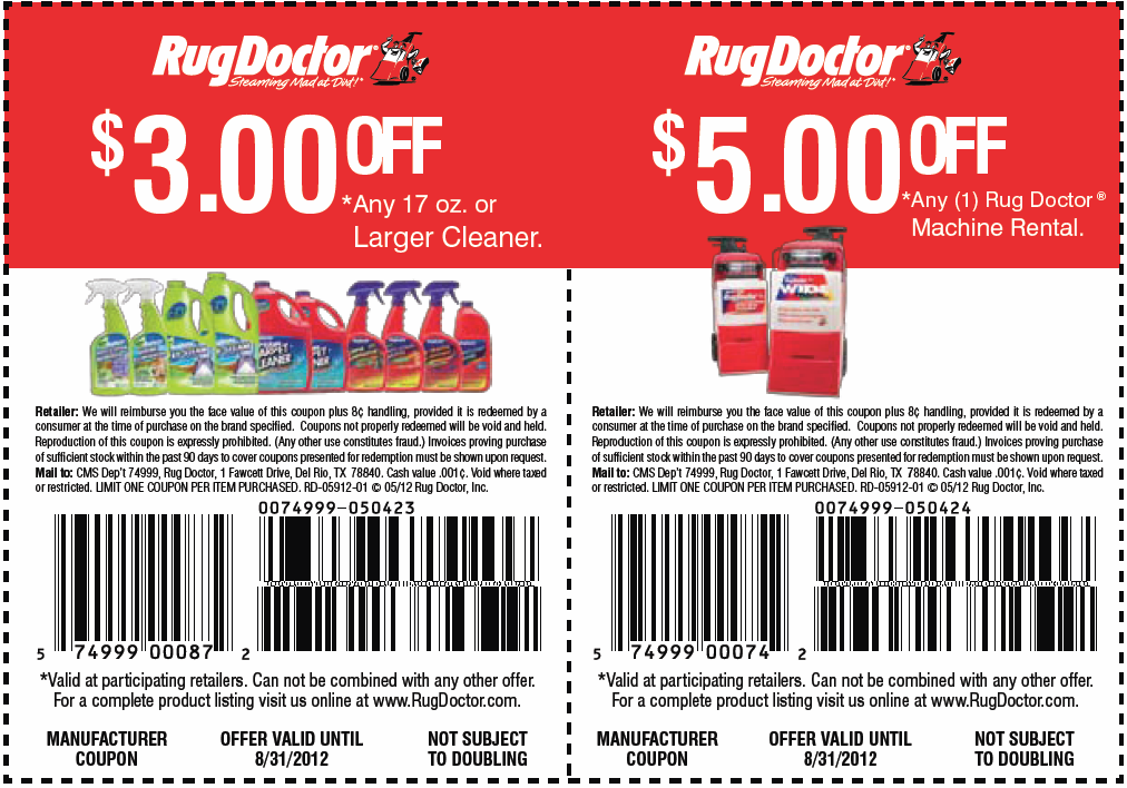 Rug doctor discount coupons