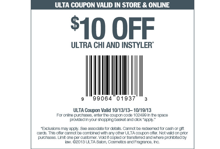 Oohey Printable Coupons And Coupon Codes For Thousands Of Stores Print Coupon Ulta Beauty 10 Off Chi Instyler Printable Coupon