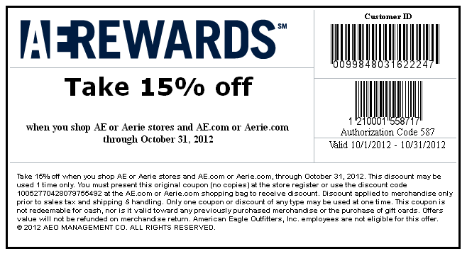 American Eagle Outfitters 15 Off Printable Coupon