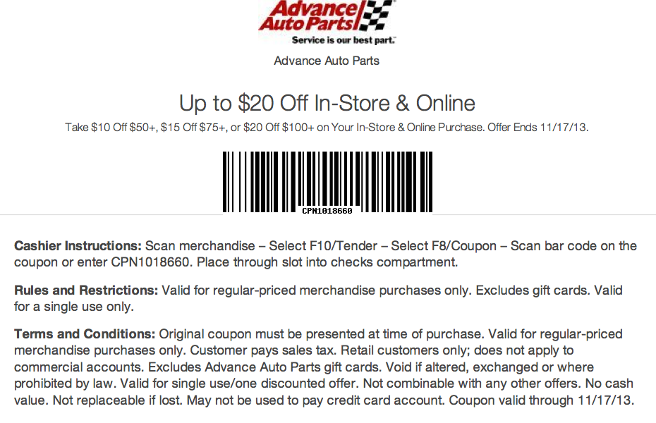 Unreliable Advance Auto Parts Coupons
