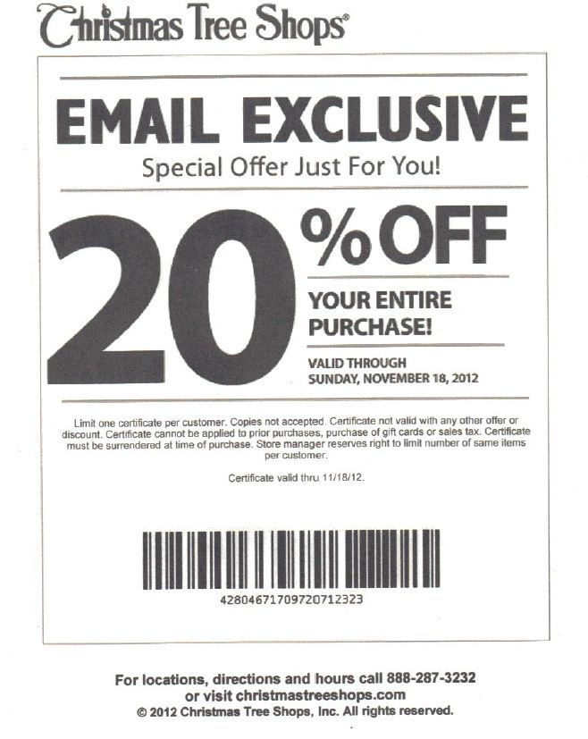 lovely coupons christmas tree shop part 3 christmas tree shops 20 off printable coupon - Coupon For Christmas Tree Shop