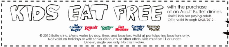 photograph regarding Hometown Buffet Printable Coupons identify Hometown Buffet: Absolutely free Children Buffet Printable Coupon