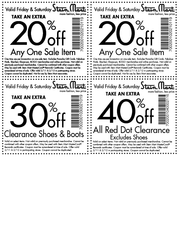 stein mart printable coupon stein mart code 2018 out deals in glasgow 24979 | 2 12 2011 Stein Mart 20 40 off printable coupon