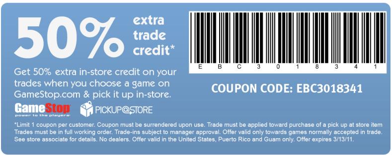 <b>GameStop</b>: Extra 50% Trade Credit Printable Coupon